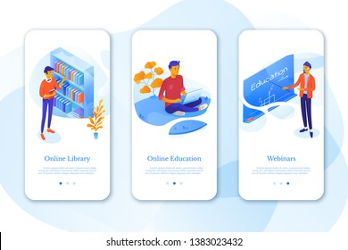 Education mobil app set with flat isometric vector illustrations. University, college cliparts pack. Online courses, e-learning. Students, teacher, tutor cartoon characters. Library, lecture hall