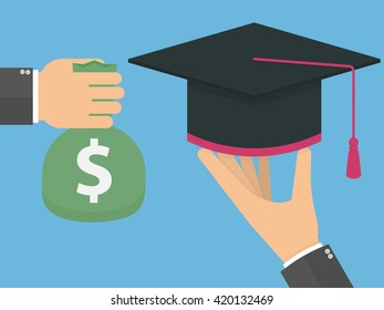 Education for money concept. Hand holding graduation cap and another hand holding a bag with dollar symbol. Flat design