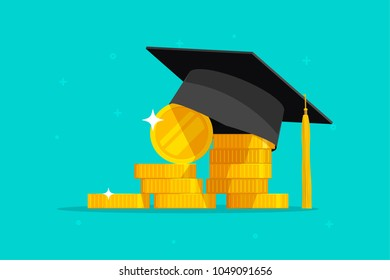 Education and money vector illustration, flat cartoon graduation hat and coins cash, concept of scholarship cost or loan, tuition or study fee, value of student knowledge, learning success