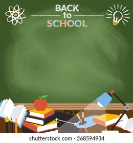 Education Objects with Copy Space Chalk Drawing Style, School, Learning and Study