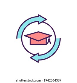Education obtaining RGB color icon. Training courses. Acquiring general knowledge. Instruction, learning. Gaining skills, competencies for particular job and activity. Isolated vector illustration