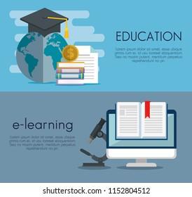 education on line set icons