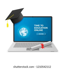Education Online Concept. Distant learning technology. Notebook with Graduation Hat and Diploma and Education Online Text on Screen. Vector illustration isolated on white background