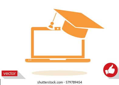 Education online concepts. Laptop with a graduation cap on screen sketch icon. Distance online learning at computer symbol vector illustration eps10. Isolated badge for website or app - stock graphics