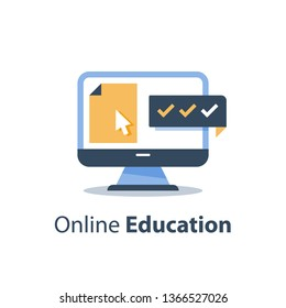 Education online course, web training class, distant exam, tutorial access, cursor on computer monitor, submit document file, registration and enrollment, vector icon