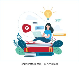 education online illustration vector.internet studying concept.small young woman sitting on books and textbooksand using laptop.e- learning training.