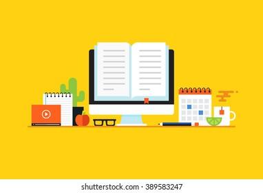 Education, Online learning. Flat design modern vector illustration concept
