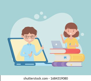 education online student girl student watching virtual class on computer with books vector illustration