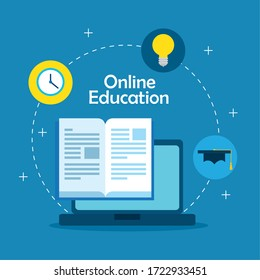 education online technology with laptop and icons vector illustration design