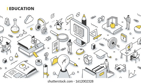 Education, online training course, tutorial, university studies concept. People learn, improve skills & expand knowledge. Isometric outline illustration for web banners, hero images, printed materials