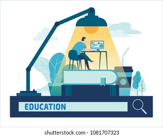 Education online training courses distance vector illustration.Internet studying, e-book, tutorials, e-learning,design for banner mobile and web graphics