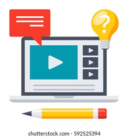 Education online, webinar or elearning theme, vector illustration in flat style