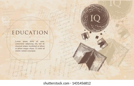 Education. Open books fly to the world knowledge. IQ test concept. Symbol of literatures, poetry, reading. Renaissance background. Medieval manuscript, engraving art