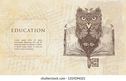 Education. Owl and open book. Renaissance background. Medieval manuscript, engraving art