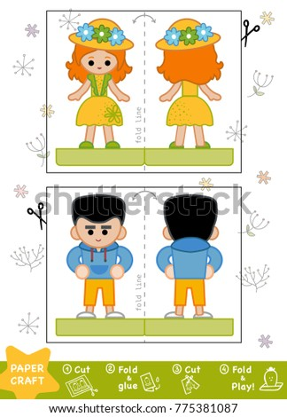 Education Paper Crafts Children Boy Hoody Stock Vector Royalty Free