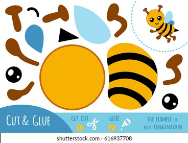 Education paper game for children, Bee. Use scissors and glue to create the image.