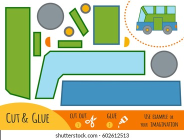 Education paper game for children, Bus. Use scissors and glue to create the image.