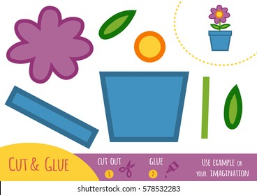 Education paper game for children, flower in a pot. Use scissors and glue to create the image.