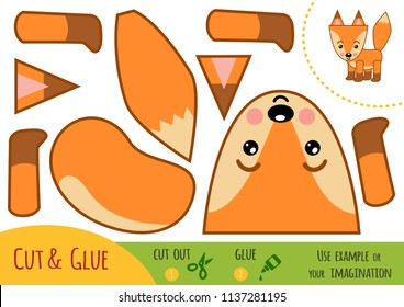 Education paper game for children, Fox. Use scissors and glue to create the image.