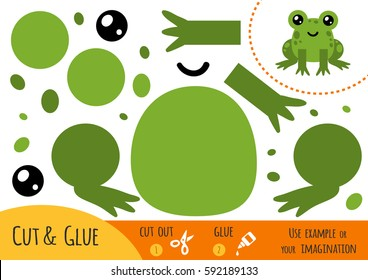 Education paper game for children, Frog. Use scissors and glue to create the image.