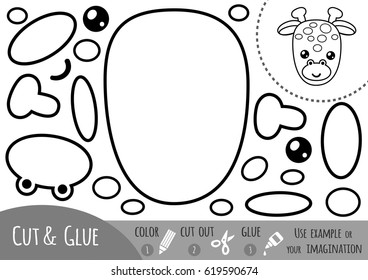 Education paper game for children, Giraffe. Use scissors and glue to create the image.