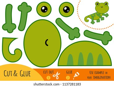 Education paper game for children, Lizard. Use scissors and glue to create the image.