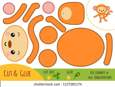 Education paper game for children, Monkey. Use scissors and glue to create the image.