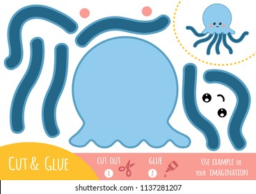 Education paper game for children, Octopus. Use scissors and glue to create the image.