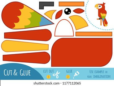 Education paper game for children, Parrot Ara. Use scissors and glue to create the image.