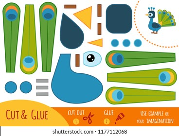 Education paper game for children, Peacock. Use scissors and glue to create the image.