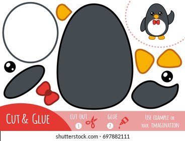 Education paper game for children, Penguin. Use scissors and glue to create the image.