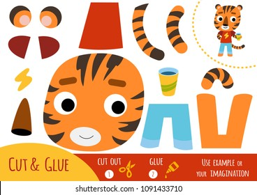 Education paper game for children, Tiger. Use scissors and glue to create the image.