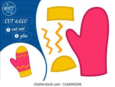 Education paper game for preshool children. Vector illustration. Cartoon mittens