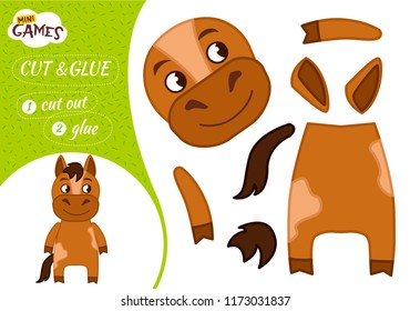 Education Paper Game For Preshool Children Vector Illustration Cartoon Cute Horse