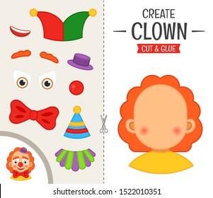 Education paper game for preshool children. Vector illustration.cartoon cute clown.
