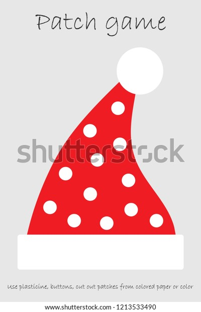graphic regarding Printable Santa Hat Pattern named Schooling Patch Match Santa Hat Youngsters Inventory Vector
