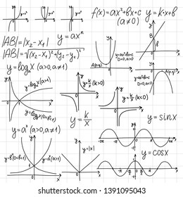 Education pattern with math formulas, equations and scientific theory calculations on a sheet of a notebook. EPS10 back to school theme vector hand drawn doodle illustration for book cover.