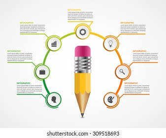 Education pencil option Infographics design template.
