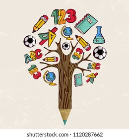 Education pencil tree concept. Class subject icons for back to school design or educational children illustration. EPS10 vector.