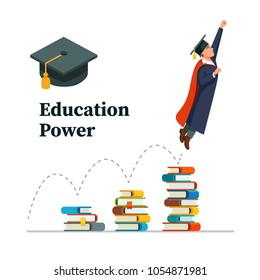 Education power concept. Graduated student in role of super hero man jumping up, taking off from books stacks full of knowledge. Flat style vector illustration isolated on white background