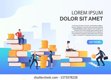 Education presentation slide template. People standing among stacks of books and coins. Course concept. Vector illustration can be used for topics like self education, career achievement, business