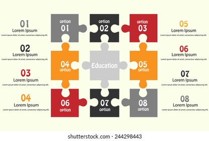 education puzzle concept infographic