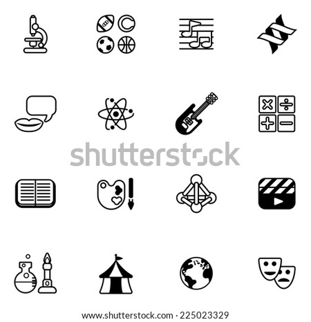 Education Quiz Subject Icons Covering Math Stock Vector Royalty