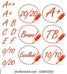 Education rating symbols surrounded by a red pencil. A plus, 20/20, from A to F letters collection. Vector set.