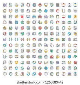 Education Related Colored Icons Set