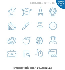 Education related icons. Editable stroke. Thin vector icon set, black and white kit