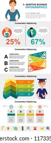Education and research concept infographic charts set. Percentage and process charts for presentation slide templates. Can be used for annual report, advertising, flyer layout and banner design.