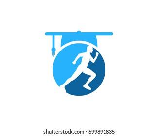 Education Run Icon Logo Design Element