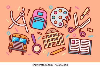 Education School Concept Line Art Bright Colors Illustration. Contemporary Trendy Vector Icons.