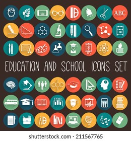 Education School Flat Icon Set. 48 icons